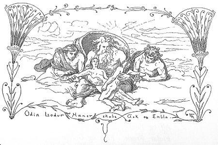 450px-Odin,_Lodur,_Hoenir_skabe_Ask_og_Embla_by_Frølich